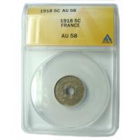 Moneda Francia 5 Céntimos 1918 ANACS AU 58 - Numisfila