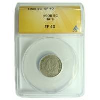 Moneda Haiti 5 Céntimos 1905 Cápsula ANACS EF40 - Numisfila