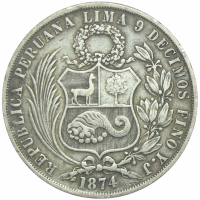 Moneda Perú de 1 Sol de 1874 - Numisfila