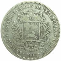 Moneda Plata 5 Bs Plata 1902 Fecha Ancha - Numisfila
