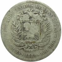Moneda Plata 5 Bolivares Fuerte 1889 - Numisfila