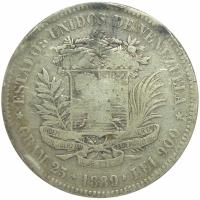Moneda Plata 5 Bolivares - Fuerte 1889 - Numisfila