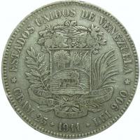 Moneda 5 Bolivares Plata 1911 Fecha Angosta - Numisfila