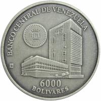 Moneda Plata 6000 Bolívares 2001 Maracay Casa de la Moneda - Numisfila