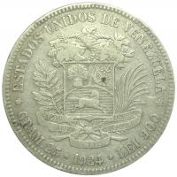Moneda 5 Bs 1924 Fecha Angosta Fuerte de Plata - Numisfila