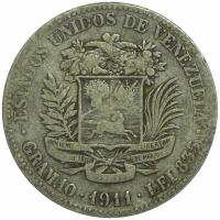 Moneda 2 Bolivares 1911 Último 1 Alto - Numisfila