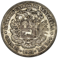 Fuerte Moneda de Plata 5 Bolivares 1921 Fecha Ancha - Numisfila