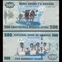 Billete Ruanda 500 Francs 2013 Vacas - Numisfila