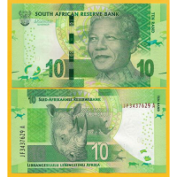 Billete Sudafrica 10 Rands 2015 Rinoceronte - Numisfila