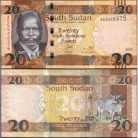 Billete Sudan del Sur 20 Pound 2015 Antilope - Numisfila