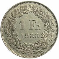 Moneda Suiza 1 Franc 1968 - 1981 - Numisfila