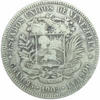 Moneda 5 Bolívares Fuerte 1902 Fecha Ancha - Numisfila