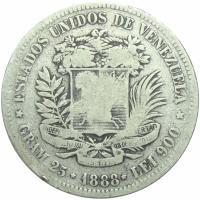 Moneda 5 Bolívares Fuerte de 1888 2do 8 Bajo - Numisfila