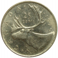 Moneda Canada 25 Centavos 1979-1989 Caribu - Numisfila