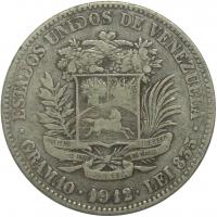 Moneda 2 Bolívares 1912 Fecha Ancha - Numisfila