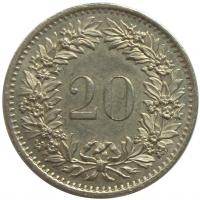 Moneda Suiza 20 Rappen 1955-2009 - Numisfila