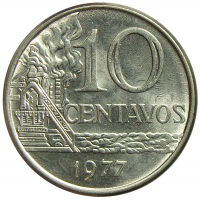Moneda Brasil 10 Centavos 1974-1979 - Numisfila