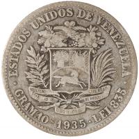 Moneda 2 Bolívares de Plata 1935 - Numisfila