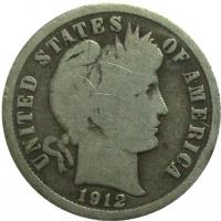 Moneda Plata E.E.U.U. Barber One Dime 1912D 10 Centavos - Numisfila