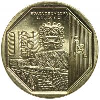 Moneda Peru 1 Nuevo Sol 2014 Huaca Luna - Numisfila