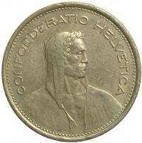 Moneda Suiza 5 Francs 1968 - Numisfila