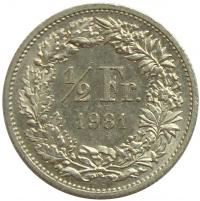 Moneda Suiza ½ Franc 1968 - 1981 - Numisfila