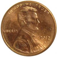 Moneda Estados Unidos 1 Centavo 2012 Lincoln - Numisfila