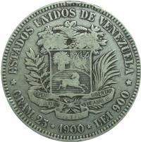 Moneda 5 Bolivares Fuerte Plata 1900 - Numisfila