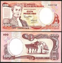 Billete Colombia 100 Pesos Oro de 1991 - Numisfila