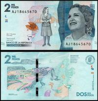 Billete Colombia 2000 Pesos 2016 (2018) - Numisfila