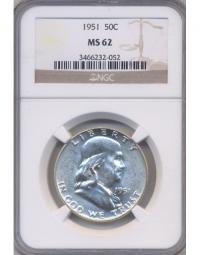 Moneda Plata EEUU ½ Franklin Dolar 1951 Capsula NGC - Numisfila