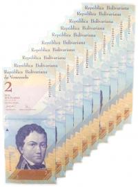 10 Billetes 2 Bs Mayo 2007 H8 Capicúas, H45400454 al H45499454 - Numisfila