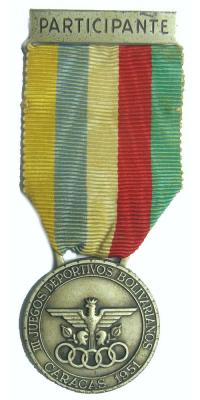 Medalla III Juegos Deportivos Bolivarianos 1951 - Numisfila