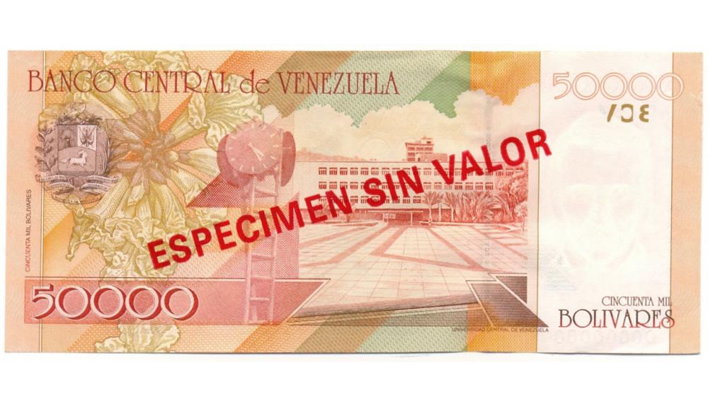 Billete 50000 Bolivares 1998 Especimen Sin Valor   - Numisfila