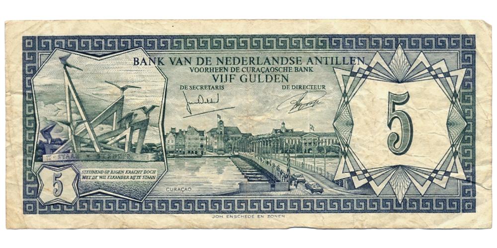 Billete Antillas Holandesas 5 Gulden de 1972  - Numisfila
