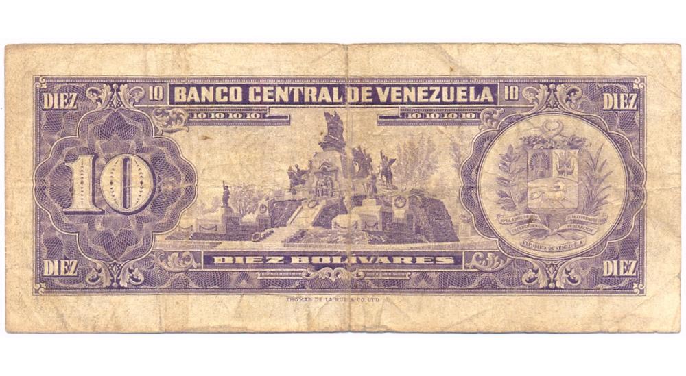 Billete 10 Bolívares 1963 K7 Serial K5565446  - Numisfila