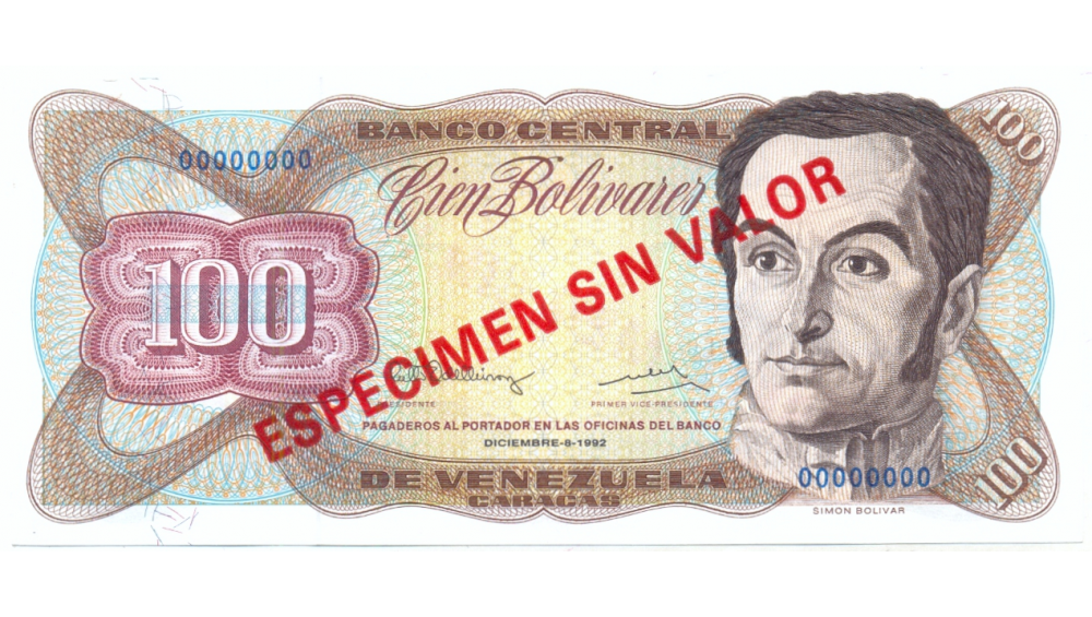 Billete 100 Bolívares Diciembre 1992 Especimen Sin Valor   - Numisfila