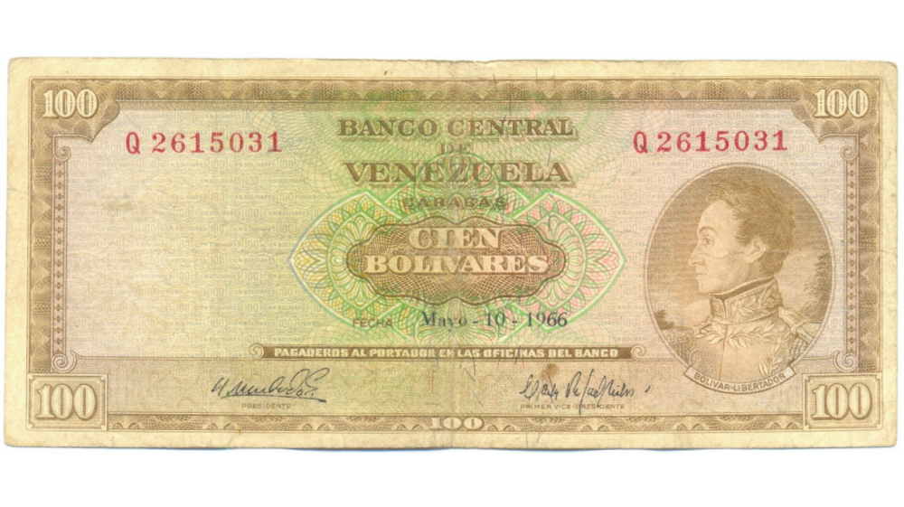Díficil Q7 Billete 100 Bolívares 1966 Serial Q2615031  - Numisfila