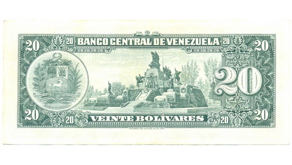 Billete 20 Bolívares A7 Serial A3032003 año 1963  - Numisfila