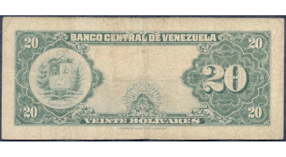 Billete 20 Bolívares Mayo 29 1958 Serial R2219274  - Numisfila