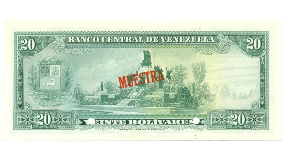 Muestra Billete 20 Bolívares 1972   - Numisfila