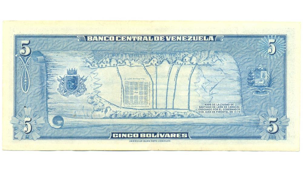 Billete 5 Bolívares 1966 Serial Bajo A0001038 Dieguito  - Numisfila
