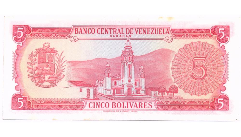 Billete 5 Bolívares 1974 X7 Serial X5837742  - Numisfila