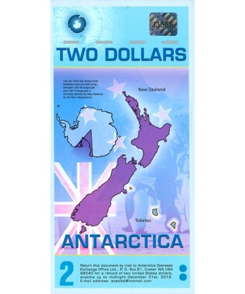 Billete Plástico Antártica 2 Dólares 2014  - Numisfila