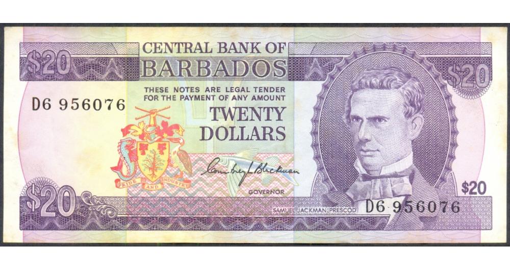 Billete de Barbados  20 Dólares de 1996  - Numisfila