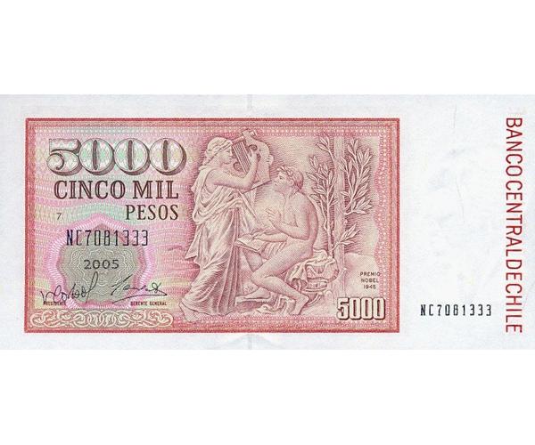 Billete de Chile 5000 Pesos 2005  - Numisfila