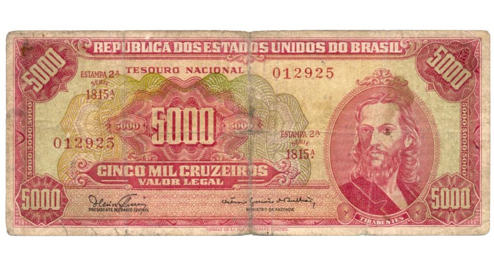 Billete Brasil 5000 Cruzeiros 1965 Serial 012925  - Numisfila