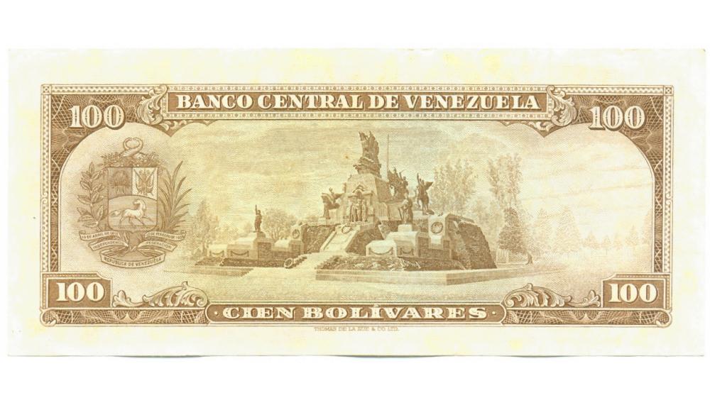 Billete 100 Bolivares 1967 T7 Serial T1270209  - Numisfila