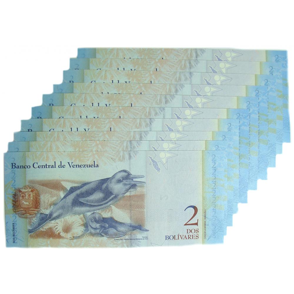 10 Billetes 2 Bs Mayo 2007 G8 Escalera Capicuas G73800837 al G73899837  - Numisfila