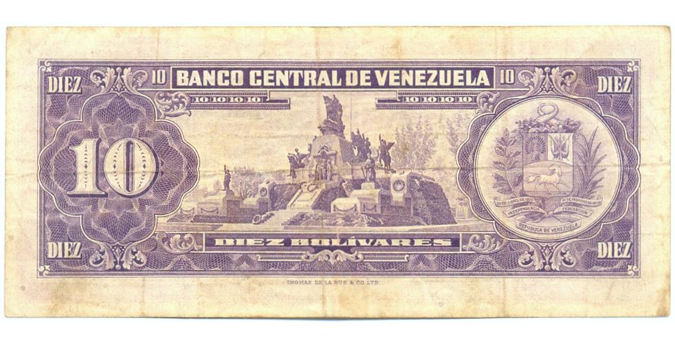 Billete 10 Bolívares 1961 H7 Serial H3009924  - Numisfila